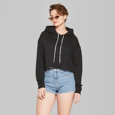 63817a42 Women's Cropped Hoodie - Wild Fable™ Black : Target