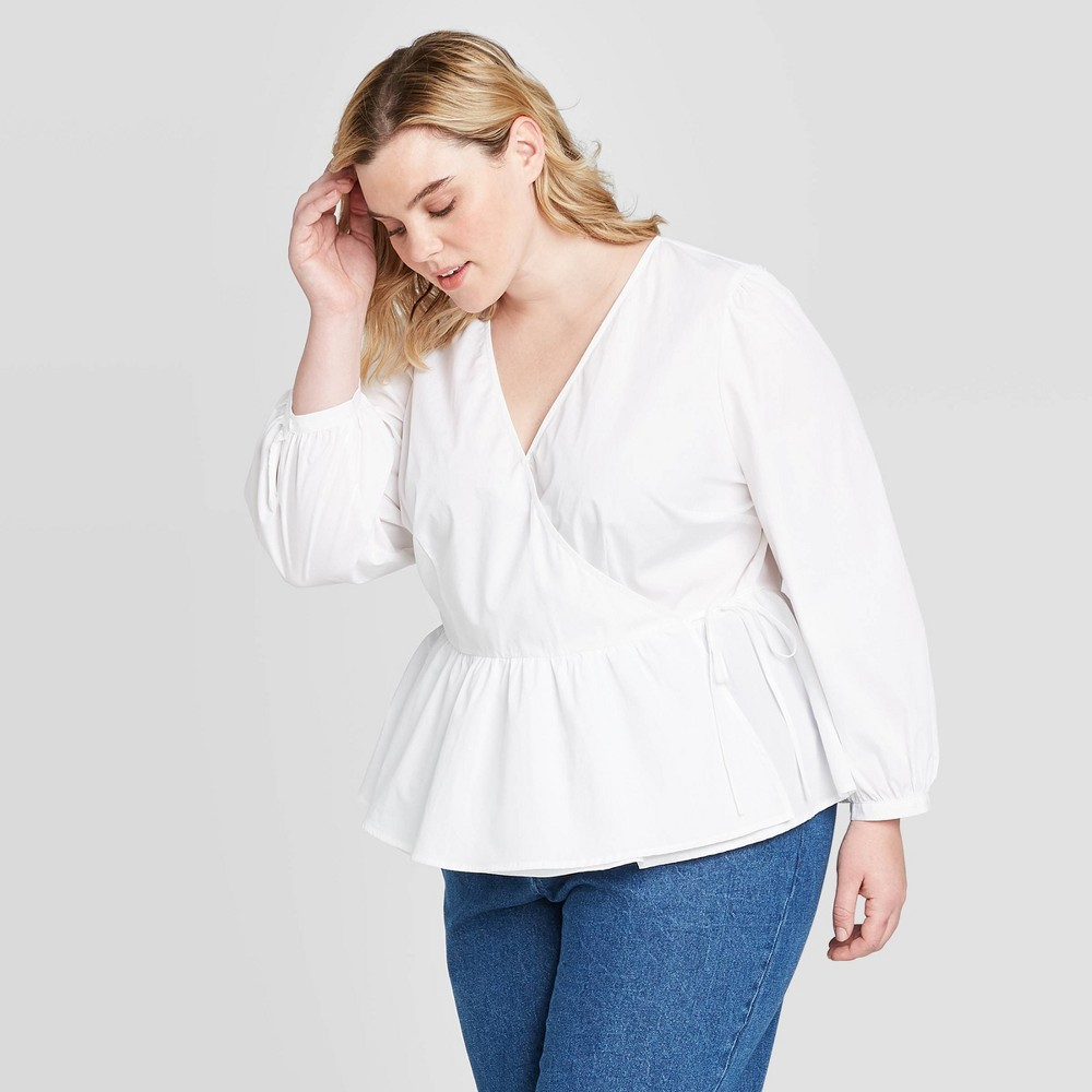 Image of Women's Plus Size Long Sleeve Wrapped Top - Who What Wear White 1X, Women's, Size: 1XL