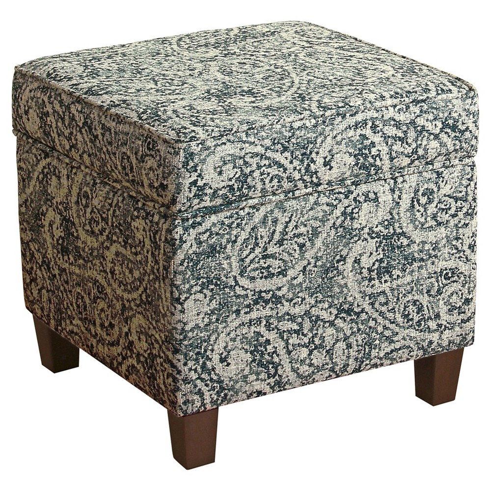 Image of Cole Classics Square Storage Ottoman Wood Leg - Blue, Gray Paisley - HomePop