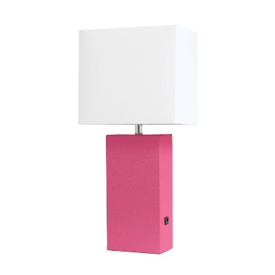 Modern Leather Table Lamp with USB and Fabric Shade Hot Pink - Elegant Designs