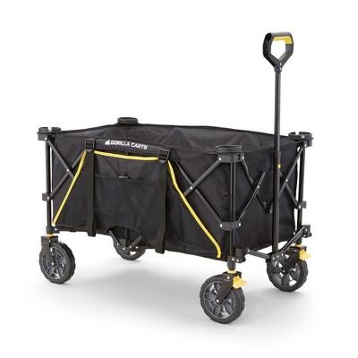 Gorilla Carts 7 Cubic Feet Foldable Collapsible Durable All Terrain Utility Pull Beach Wagon with Oversized Bed and Built In Cup Holders, Black