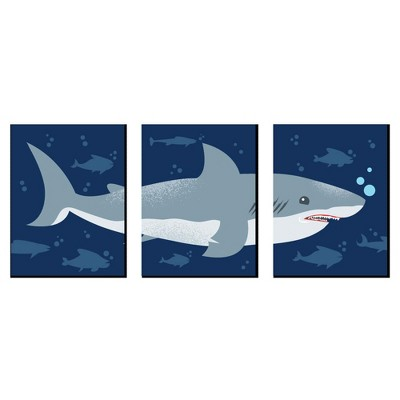 Big Dot of Happiness Shark Zone - Nursery Wall Art, Kids Room Decor and Jawsome Shark Home Decoration - Gift Ideas - 7.5 x 10 inches - Set of 3 Prints