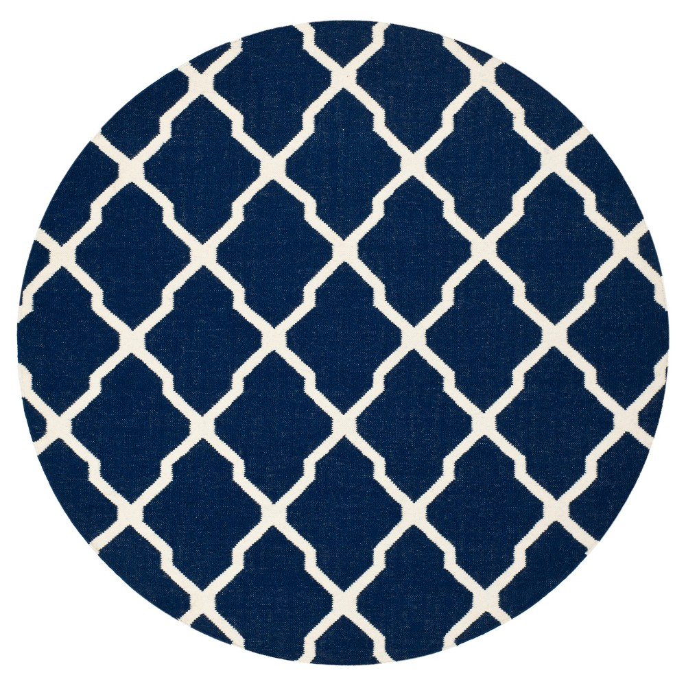 Taza Dhurry Rug - Navy/Ivory (Blue/Ivory) - (6'x6' Round) - Safavieh