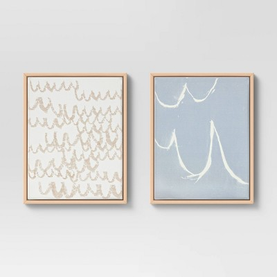 """(Set of 2)16"""" x 20"""" Scribble Print Framed Decorative Wall Art - Project 62™"""