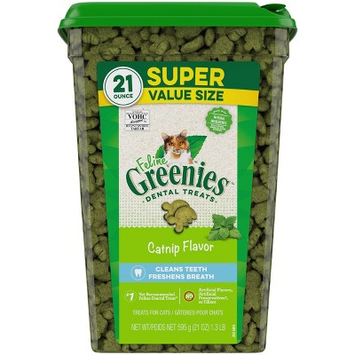 Greenies Feline Dental Catnip Flavor Cat Treats - 21oz