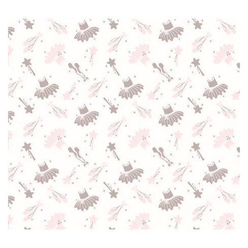 NoJo Fitted Crib Sheet - Ballerina Bows - White - image 1 of 4