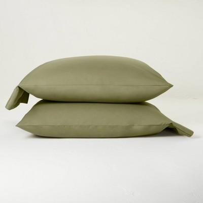 King Washed Supima Percale Solid Pillowcase Set Moss Green - Casaluna™