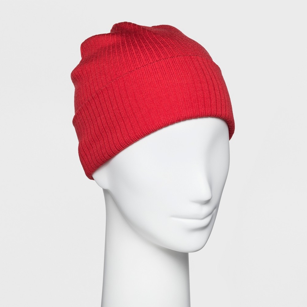 Women's Ribbed Cuff Beanie - A New Day Red