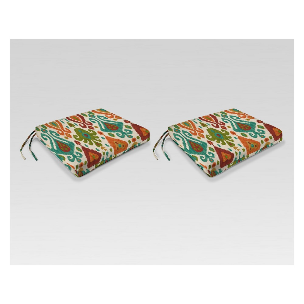 Outdoor Set of 2 French Edge Seat Cushions - Green/Orange - Jordan Manufacturing