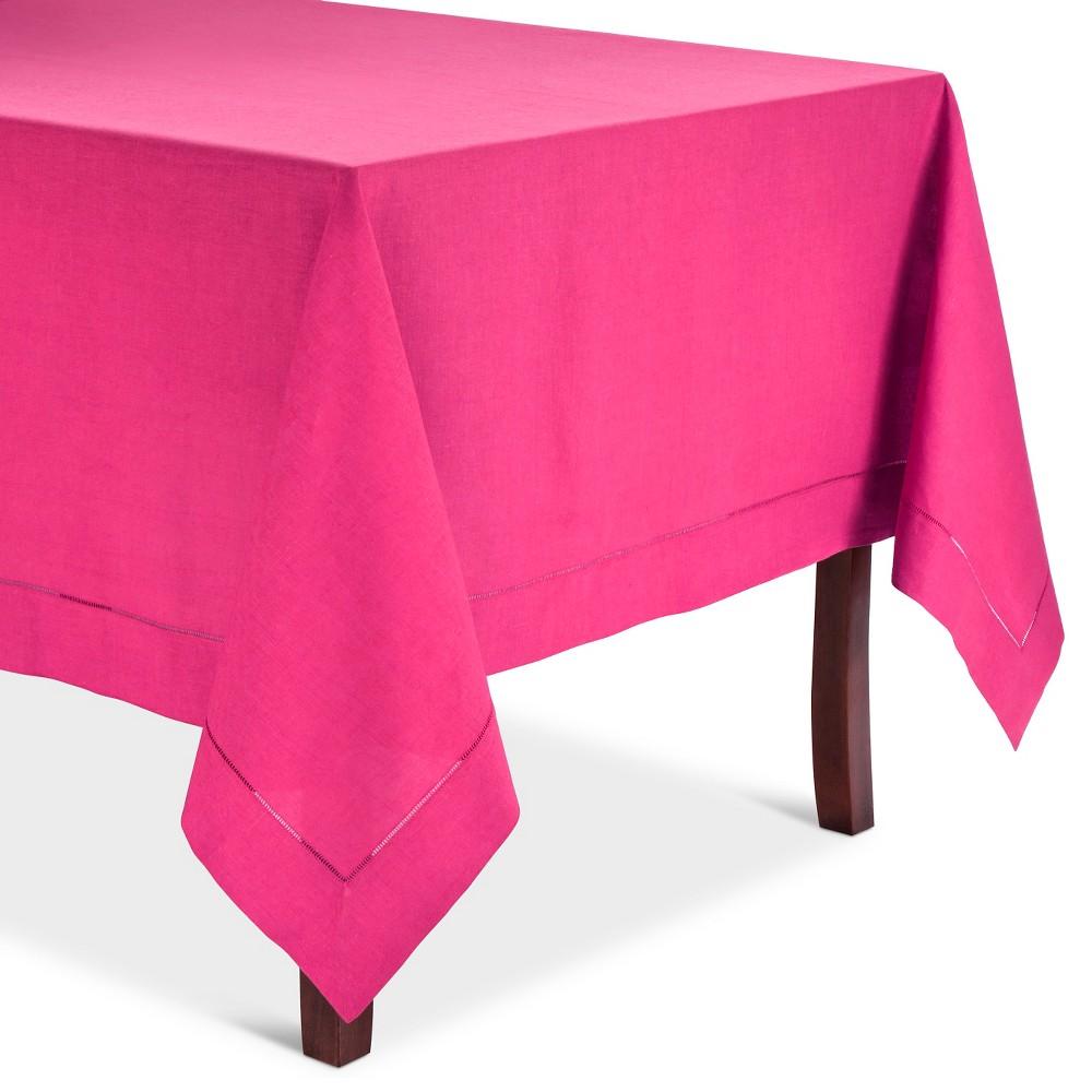 Hemstitched Tablecloth Fuchsia (Pink) (72 Round)