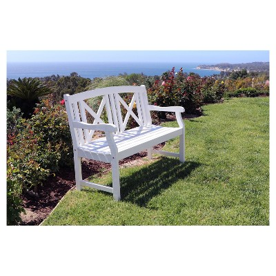 Vifah Bradley Outdoor Wood Bench - White