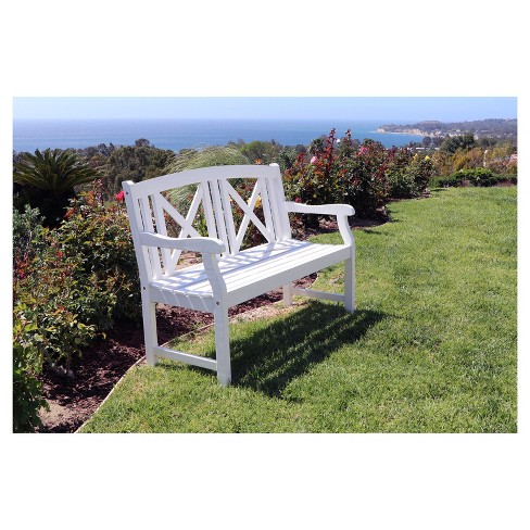 Vifah Bradley Outdoor Wood Bench - White - image 1 of 2