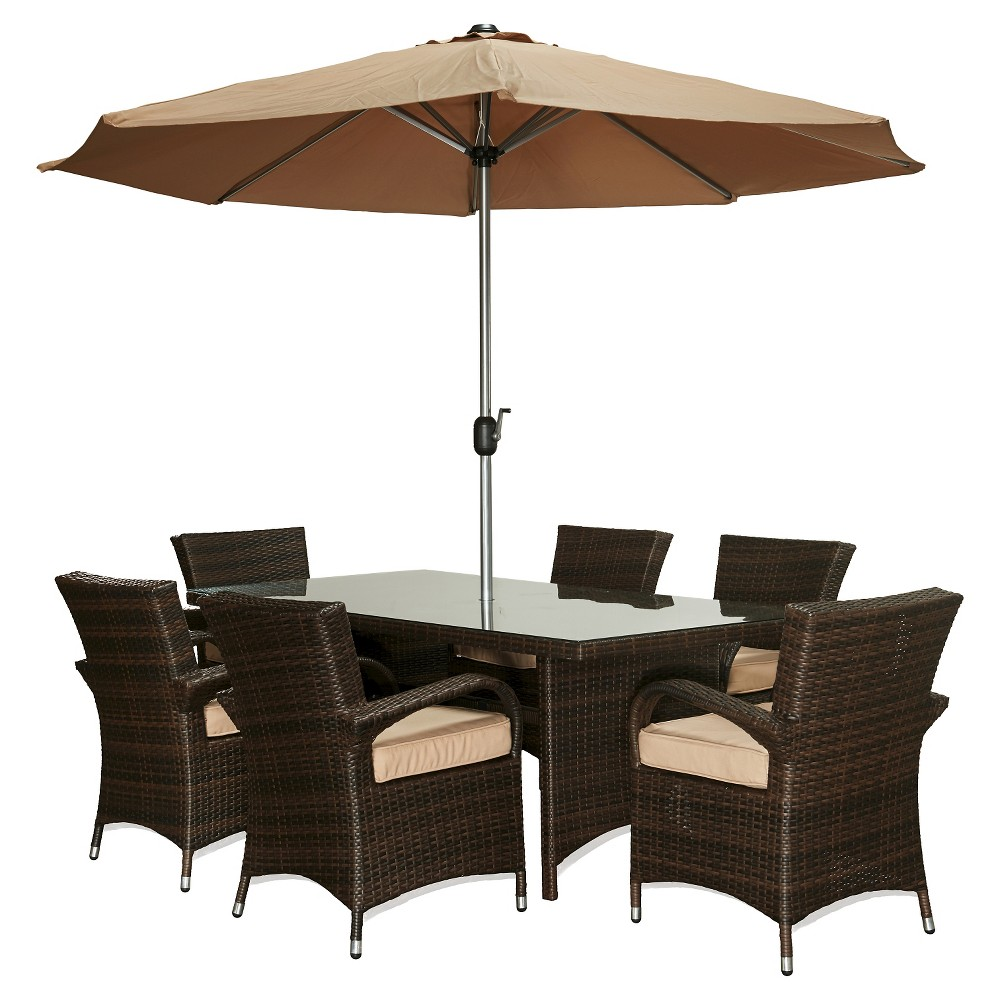 The-Hom Bora 8-Piece All Weather Wicker Dining Set Dark Brown with Beige Cushions