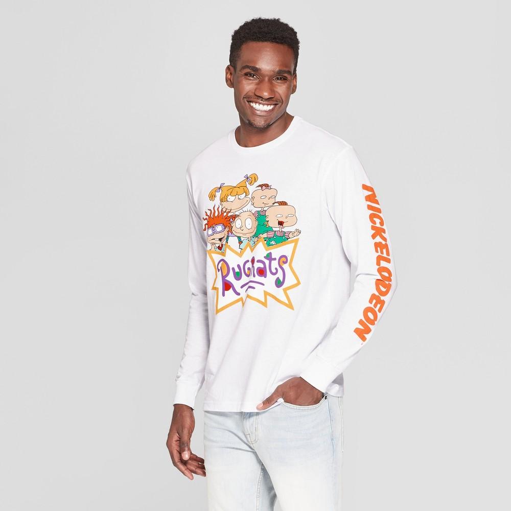 Men's Long Sleeve Nickelodeon Rugrats Crew T-Shirt - White XL