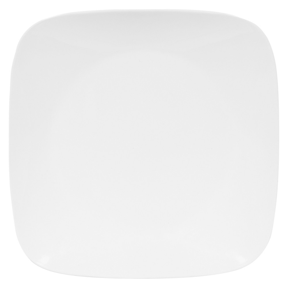 Corelle Rounded Square Glass Dinner Plate 10.5 White