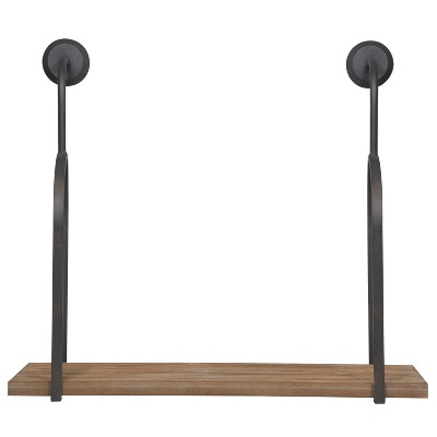 Gallery Solutions 32 x28.8  Industrial Wall Mount Pipe Shelf Brown
