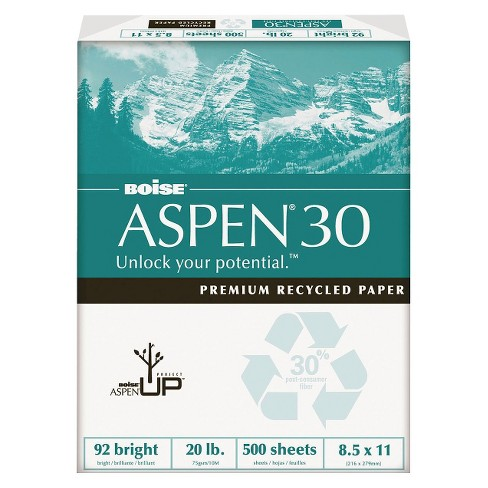 Boise® Aspen 30% Recycled Office Paper,92 Bright, 20 lb - White (5000 Per Carton) - image 1 of 3