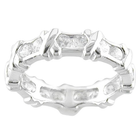 Silver Plated X Design Cubic Zirconia Ring - image 1 of 2