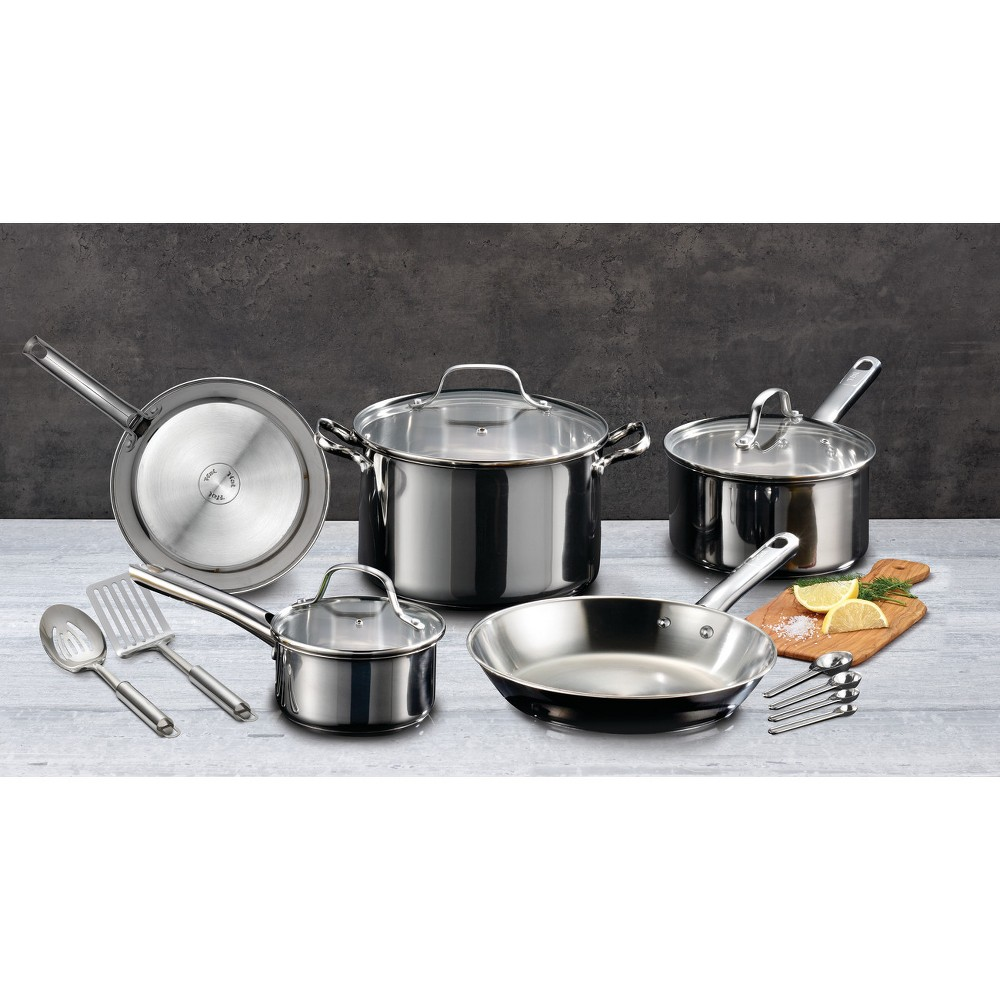 T-Fal 14pc Stainless Steel Cookware Set, Silver