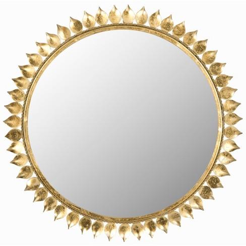 Sunburst Leaf Crown Decorative Wall Mirror Gold - Safavieh - image 1 of 3