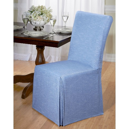 Blue Chambray Dining Room Chair Slipcover Madison Industries