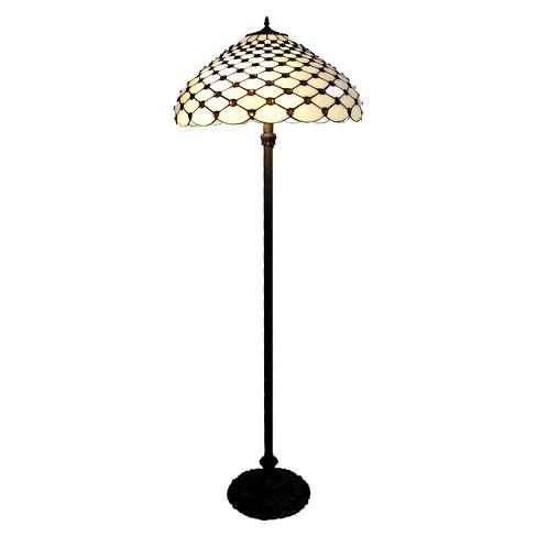 Tiffany Style Floor Lamp Amber White