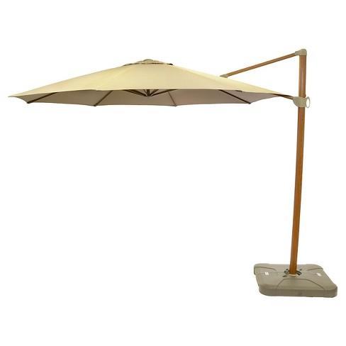 11' Offset Sunbrella® Umbrella - Canvas Heather Beige - Medium Wood Finish - Smith & Hawken™ - image 1 of 1
