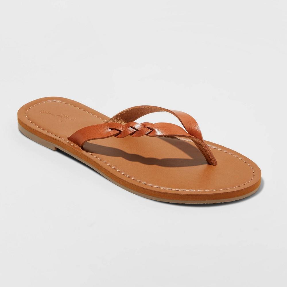 Women 39 S Bobbie Braided Flip Flop Sandals Universal Thread 8482 Cognac 12