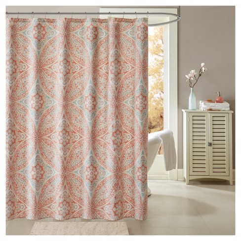 Jessie Cotton Printed Shower Curtain Coral - image 1 of 1