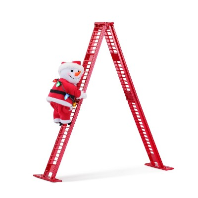 "Mr. Christmas Climbing Snowman on Ladder Animated Musical Christmas Decoration - 17"""