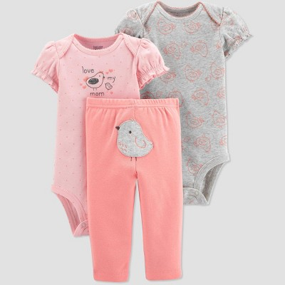 Baby Girls' Bird Top & Bottom Set - Just One You® made by carter's Pink/Gray/Peach 6M