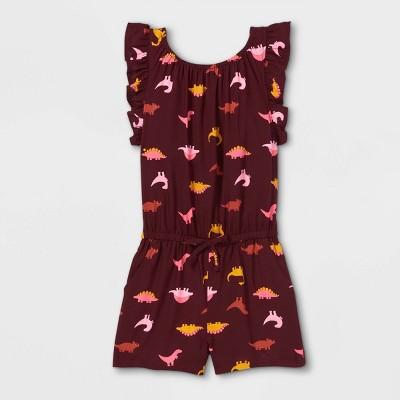 Toddler Girls' Dinosaur Ruffle Sleeve Romper - Cat & Jack™ Burgundy