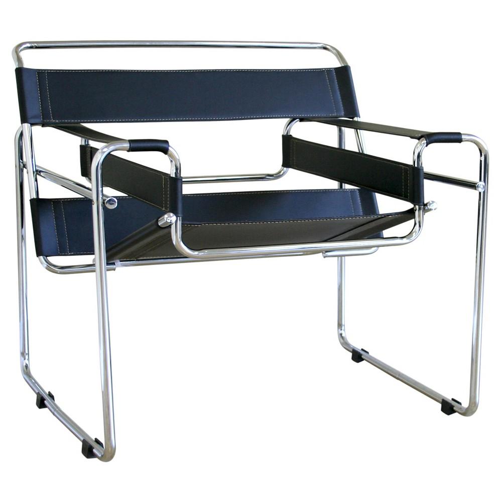 Jericho Leather Accent Chair Black - Baxton Studio