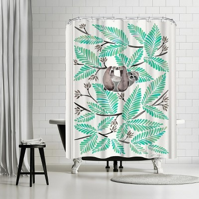 """Americanflat Happy Sloth Mint by Cat Coquillette 71"""" x 74"""" Shower Curtain"""