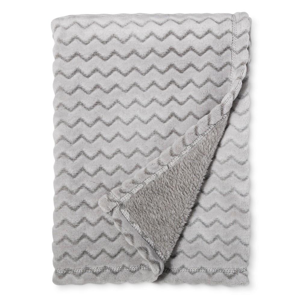 Plush Embossed Baby Blanket Chevron - Cloud Island Gray