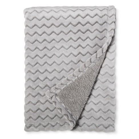 Plush Embossed Baby Blanket Chevron - Cloud Island™ Gray - image 1 of 1