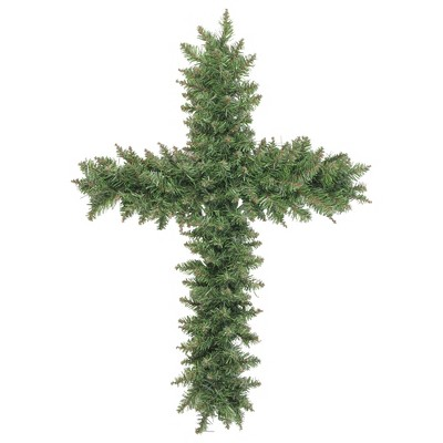 "Northlight 22"" Unlit Green Pine Artificial Cross Shape with Ground Stake Christmas Wreath"