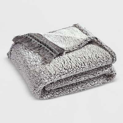 """50""""x60"""" Sherpa with Tassel and Fringe Throw Blanket - Lush Décor"""