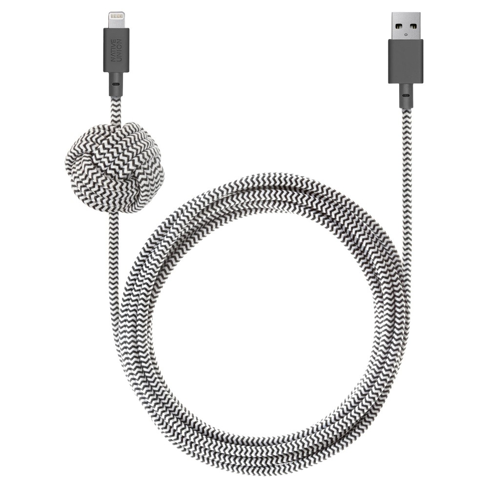 Native Union Night 10 39 Braided Lightning To Usb A Cable Zebra