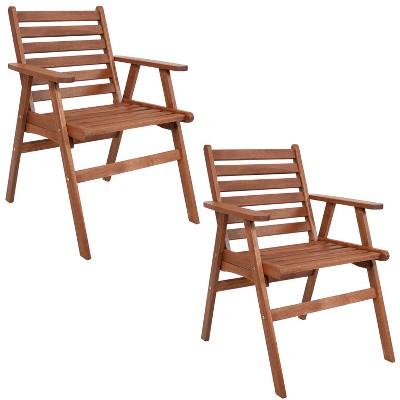 Sunnydaze Outdoor Meranti Wood with Teak Oil Finish Modern Rustic Patio Dining Arm Chair - Brown - 2pk