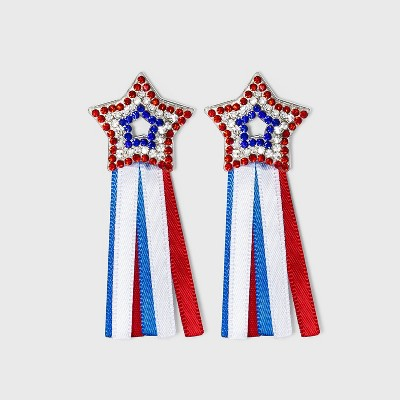 Americana Star Ribbon Drop Earrings - Red/White/Blue