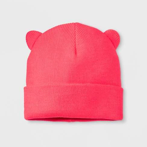 Girls' Solid Cuffed Beanie - Cat & Jack™ Pink One Size - image 1 of 2
