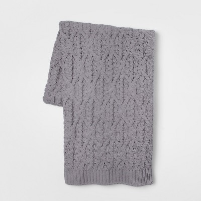 60 x50  Knit Chenille Throw Blanket Gray - Threshold™