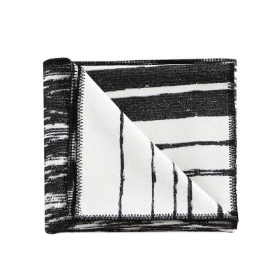 "Kenneth Cole New York Faux Wool Throw Blanket, Yarn Dyed, Ivory Black, 50"" X 60"""