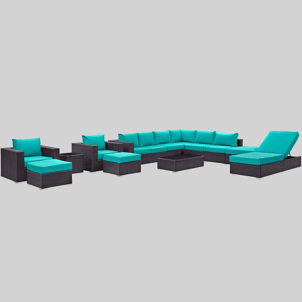 Convene 12pc Outdoor Patio Sectional Set - Turquoise - Modway