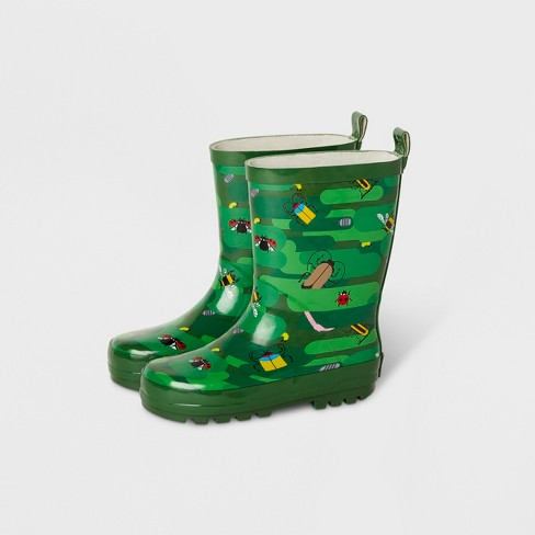 Kids Bug Camo Garden Rain Boots Green Kid Made Modern