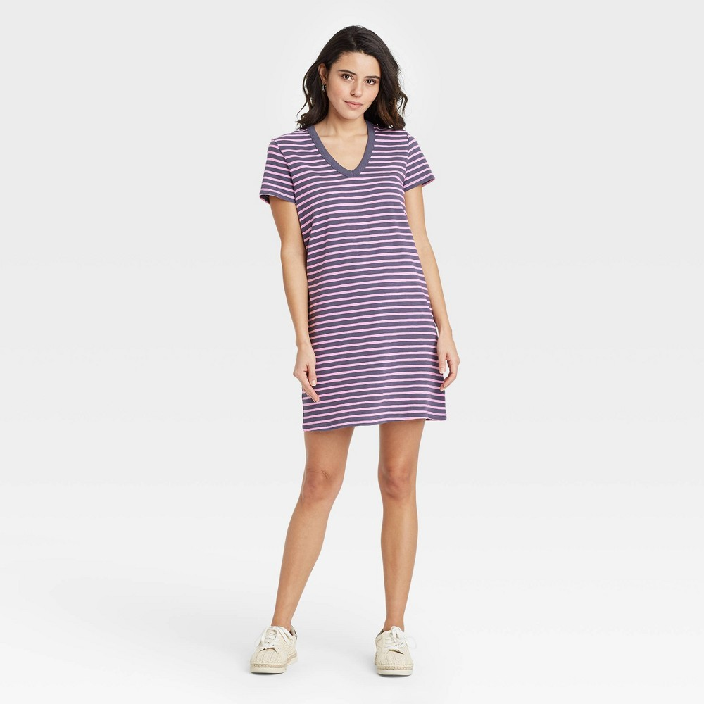 Women 39 S Striped Short Sleeve T Shirt Dress Universal Thread 8482 Purple S