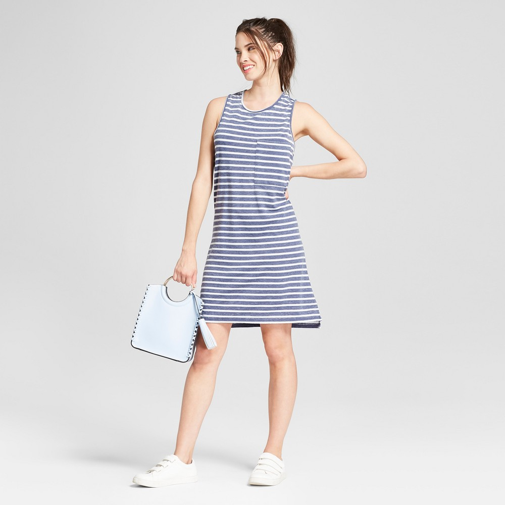 Women's Striped Burnout Wash Pocket Dress - Grayson Threads (Juniors') Blue M, Size: Small was $27.98 now $12.59 (55.0% off)