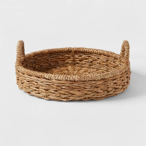 Chunky Seagrass Woven Serving Tray Beige - Threshold™ - image 1 of 3
