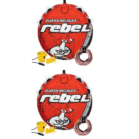 Airhead Rebel 54In 1 Person Red Towable Tube Kit w/ Rope and 12V Pump (2 Pack) - image 1 of 4